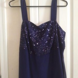 Woman Within Dresses - Elegant Navy Blue Sequin Dress with Jacket